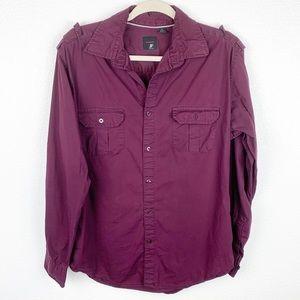 J. Ferrar Maroon Button Down Long Sleeve Shirt L